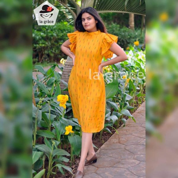 Mustard Yellow Gowns with Butterfly Sleeves