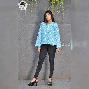 Trendy Sky Blue Ikkat Jacket